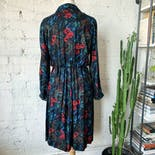 another view of 80's Handmade Black Dress with Tropical Paisley Floral Design