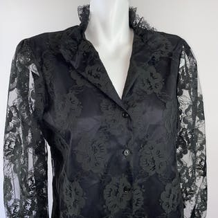 70's/80's Black Lace Gothic Blouse Button Up with High Collar by Judy Bond