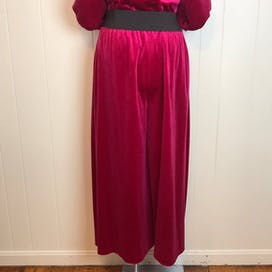 70's/80's Magenta Wide Leg Velvety Jumpsuit by Sears