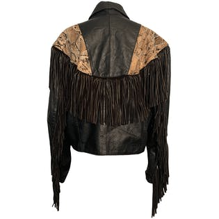 70's Authentic Python and Fringe Leather Jacket by Creaciones Piél Genuina