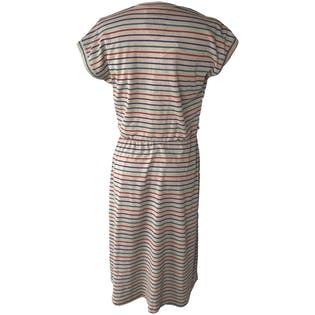 70's Beige Stripe Cinch Waist Midi Dress