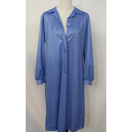 70's Blue Geometric Pattern Wear Anywhere Frock Shirt Dress by A Nancy Frock