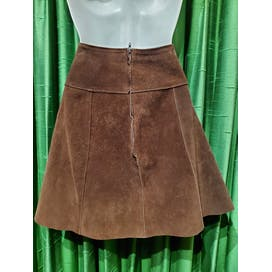 70's Brown Suede High Waist A-Line Mini Skirt