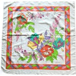 70's Bright and Colorful Floral Scarf by Jim Thompson