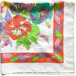 another view of 70's Bright and Colorful Floral Scarf by Jim Thompson