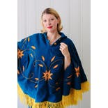 another view of 70's Bright Blue and Yellow Embroidered Flower Poncho