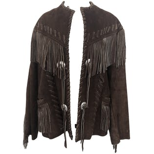 70's Brown Suede Fringe Jacket by Bull Genuine Leather