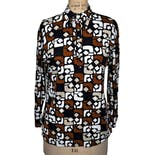70's Brown, White and Black Geometric Pattern Blouse by Joanna