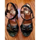 another view of 70's Dark Green Patent Leather Extreme Platform Sandalsby S. Sakolos For Kimel