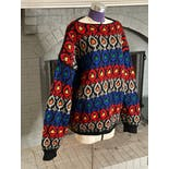 another view of 70's Colorful Chunky Knit Sweater