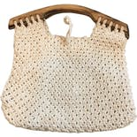 another view of 70's Cream Macrame Top Handle Bag