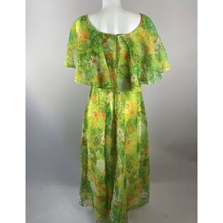70's Green Floral Chiffon Maxi Dress with Shawl Cape