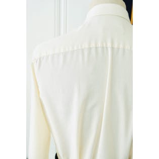 70's Cream Tuxedo Style Blouse with Peter Pan Collar