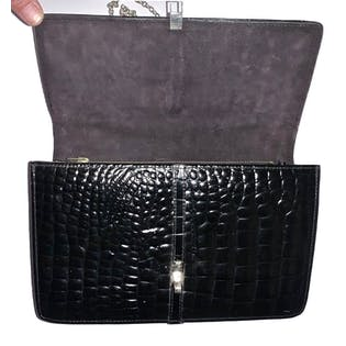 70's French Black Alligator Leather Bag with Chain Strap by Stewarts