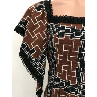 70's Geometrical Brown and Black Dress by S. Howard Hursh