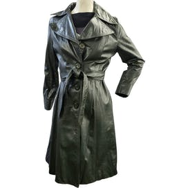 70's Green Belted Leather Coat