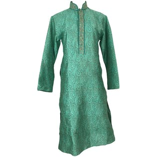 Green Paisley Embroidered Caftan by Manyavar