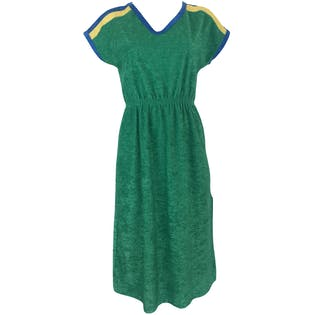 70's Green Terrycloth Midi Dress with Side Slit by House Of David