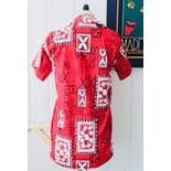another view of 70's Handmade Red Tiki Hawaiian Button Up Shirt