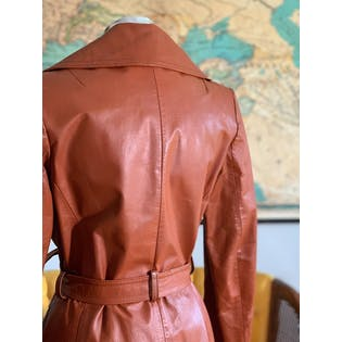 70's Leather Trench by Paul Monet