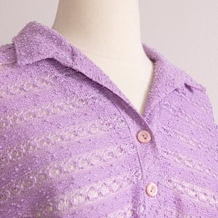 70's Lilac Nubby Knit Shirt Dress