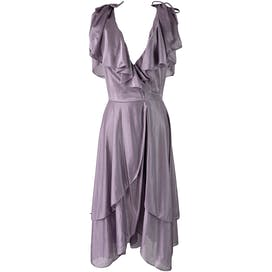 70's Lilac Ruffled Wrap Dress