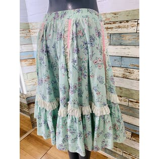 70's Pastel Floral Full Skirt by Malco Modes