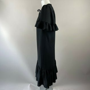 70's Black Shift Dress with Ruffle Hem, Sleeves and Jeweled Neck Tie by Mr. Blackwell