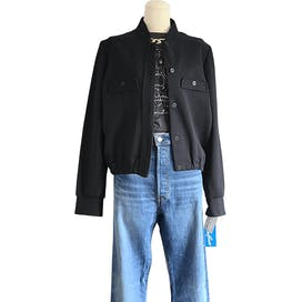70's Deadstock Black Bomber Style Jacket by Sandflower New York