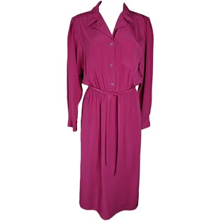 70's Pink Collared Button Up Dress with Belt by Ms Claus