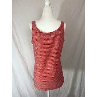 70's Polka Dot Textured Knit Tank Top by White Stag