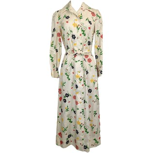 70's Floral Print Maxi Dress with Lace Panel Sleeves by Jamison Boutique