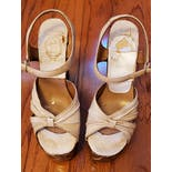 another view of 70's White Wooden Heeled Platform Sandals