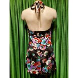 another view of 70's Black Floral Halter Mini Dress