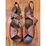 another view of 70's Brown Wooden Heel Platform Sandals by Quality Craf