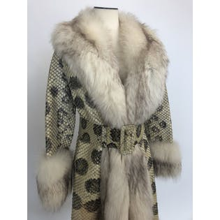 70's Python Fox Fur Trimmed Coat by Furs By Max