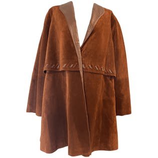 70's Rust Colored Suede and Leather Trenchcoat Style Jacket by Lillie Rubin Exclusive