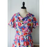 another view of 70's Sheer Floral Fit and Flare Dress
