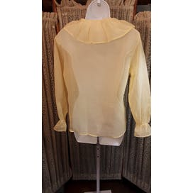 70's Deadstock Sheer Yellow Ruffle Collar Blouse by Springmaid
