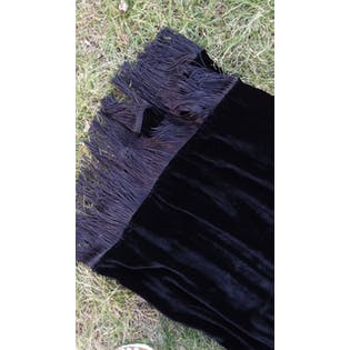 70's Black Silk Velvet Fringe Skirt