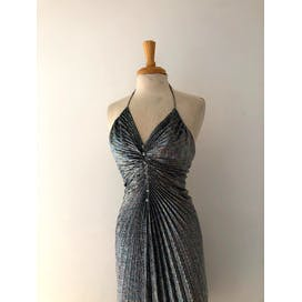 70's Silver Metallic Pleated Halter Top Dress by New Leaf