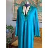 another view of 70's Teal Ribbon Evening Caftan by Vanity Fair