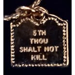 another view of 70's Tiny 5th Commandment Necklace with 12K Gold Filled Chain