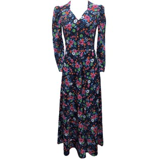 70's Navy Blue Multicolor Floral Print Maxi Dress