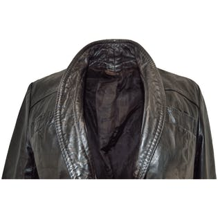 70's Black Leather Single Button Jacket