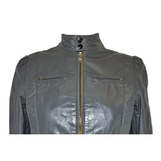 70's 80's Gray Leather Jacket by Boulede Neige