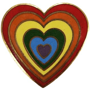 70's/80's Rainbow Heart Pin