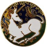 70's/80's Round Unicorn Pin