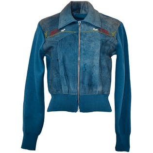 70's Blue Leather and Knit Jacket