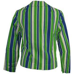 70's Blue and Green Striped Blazer by Junior House